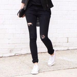 Zara Z1975 Black Destructed Skinny Jeans